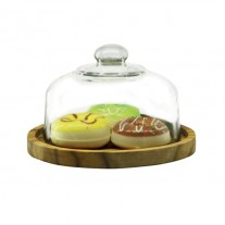 Alibambah Toples Kaca Dengan Base Kayu Set - Dome B + Kayu (3,000 ml)