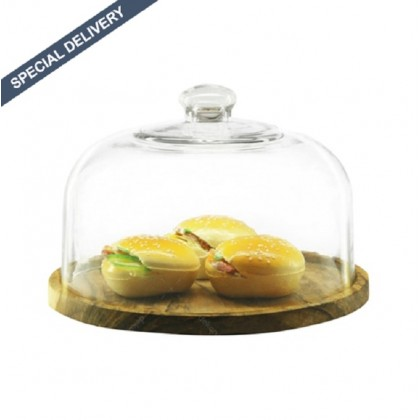 Alibambah Toples Kaca Dengan Base Kayu Set - Dome F + Kayu (10,000 ml)